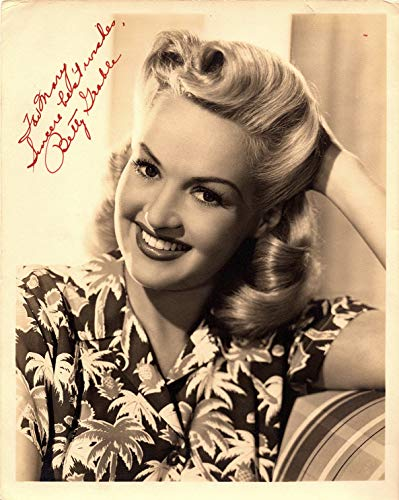 Hand Signed Vintage (BETTY GRABLE Autographed Vintage Hand SIGNED 1940's Vintage 8x10 Photo w/LOA Vintage Hollywood Pin-Up Girl)