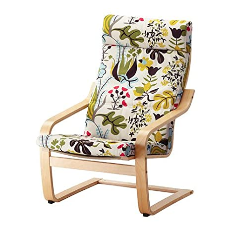 Cool Amazon Com Ikea Poang Chair Birch Veneer With Blomstermala Evergreenethics Interior Chair Design Evergreenethicsorg