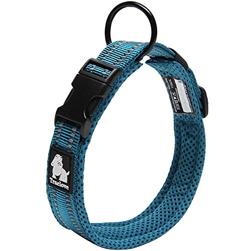 Creation Core Reflective Dog Collar with Ring Breathable Mesh Soft Padded Adjustable Nylon Pet Collar 0.6