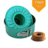 Bundt Cake Pan 7 Inch Non-Stick Springform Pan Round 2-In-1 for Baking - 7'' Cheesecake Pan Leakproof for Instant Pot with Removable Bottom and Quick-Release Latch(Blue Coating)