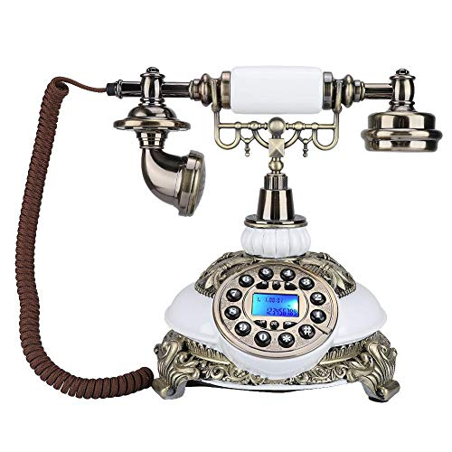 fosa European Antique Phone, Retro Vintage Telephone Phones Classic Desk FSK/DTMF Landline Phone with Real Time & Caller ID Display for Office Home Living Room Decor, Wonderful Gift