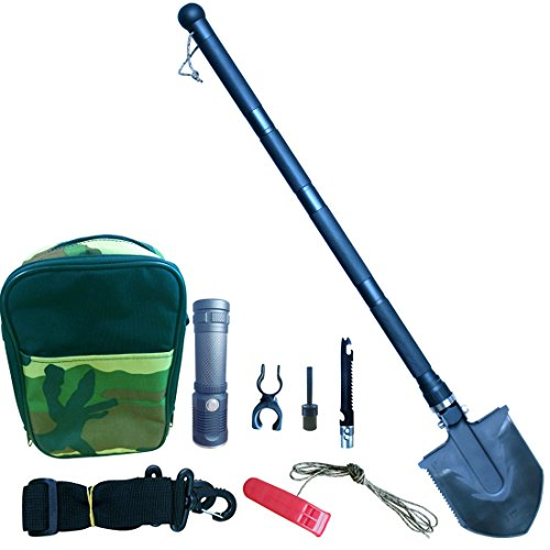 VIDAR Compact Outdoor Folding Shovel with Knife and Fire Starter - Perfect for Snow Shovel, Entrenching Tool, Auto Emergency Kit, Survival Axe, Camping Multitool, Tactical, Military, Self-Defense by VIDAR