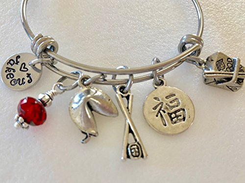 Chinese Takeout Bangle, Fortune Cookie Bangle, Chopsticks, Chinese Good Luck Charm, Chinese Food Lover, Pewter Charms, Adjustable Stainless Steel Bangle.