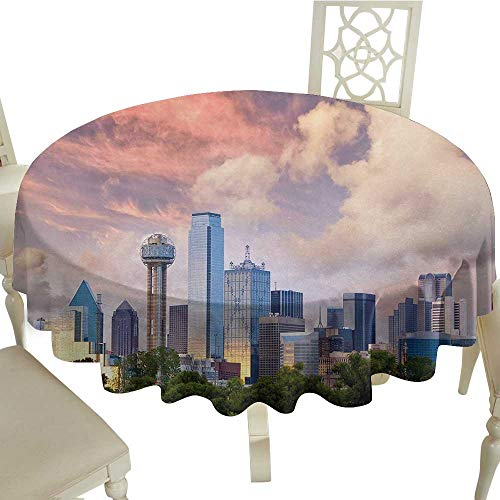 longbuyer Round Tablecloth spillproof United States,Dallas City Skyline at Sunset Clouds Texas Highrise Skyscrapers Landmark,Multicolor D60,for Party ()