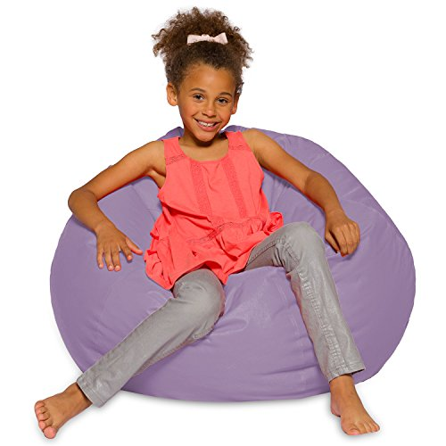 Big Comfy Bean Bag Chair: Posh Large Beanbag Chairs for Kids, Teens and Adults - Polyester Cloth Puff Sack Lounger Furniture for All Ages - 27 Inch - Heather Lavender