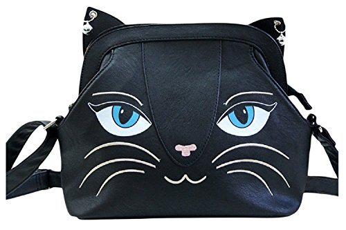 Lost Queen Gothic Emo Meow Black Cat Neko Crossbody Purse with Bells