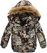 Kids Winter Jacket Boys Padded Coats Hooded Outerwear Warm Fur Collar Plush Classic Overcoat