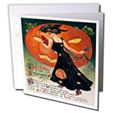 3dRose Vintage Halloween Lady in Black - Greeting Cards, 6 x 6 inches, set of 12 (gc_6039_2)