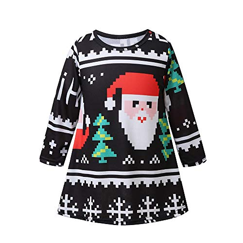 Elf 120 Dvd (Birdfly Christmas 18M-5T Toddler Kid Girl Mosaic Santa Claus Long-Sleeved Dress (3T, Red))