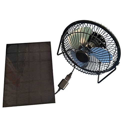 (VORCOOL USB Fan Solar Powered 360 Degree Rotation Desktop Fan Outdoor Home Chicken Coop Greenhouse Cooling Ventilation System,5W 6Inch)