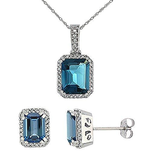 Or blanc 9Ct Topaze Bleu Londres octogone naturelle Boucles d'oreilles et pendentif Set Accents de diamant