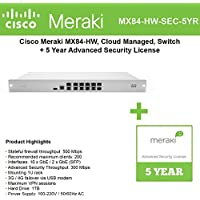 Cisco Meraki MX84 Advanced Security Bundle, 500Mbps FW, 10xGbE & 2xGbE SFP Ports with 5 Year Advanced Security License
