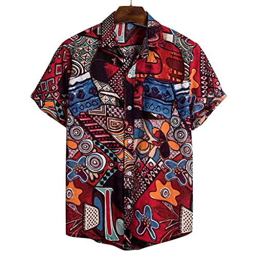 GDJGTA Shirts for Mens Hawaiian Printed Cotton Linen Loose Short Sleeve Casual Buttons T-Shirt -