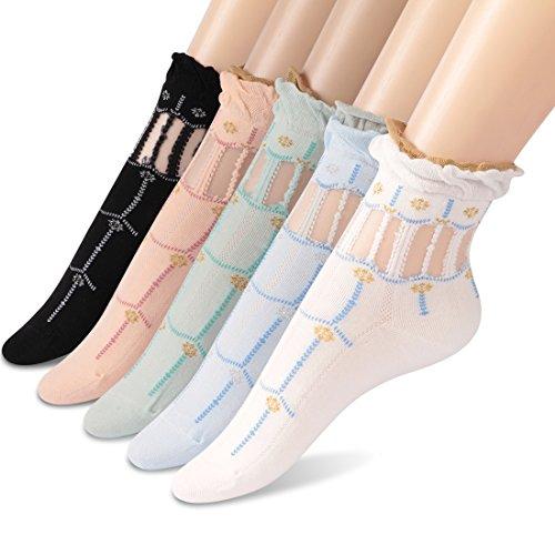 (Girl Short Socks, Socks Daze Women's Sexy Cute Summer Ankle Socks 5 Pairs)