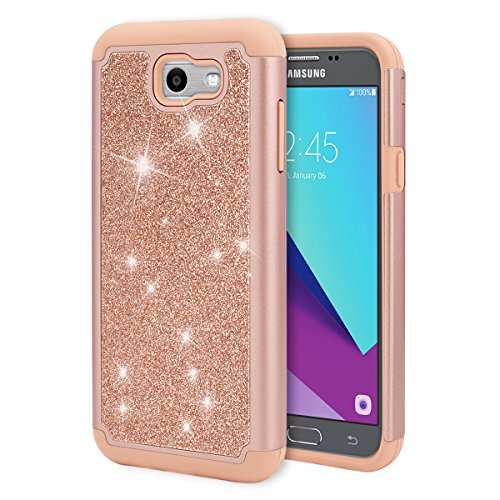 Topnow Samsung Galaxy J7 2017 Glitter Case,Hybrid Heavy Duty Protection [PC Silicone Leather] Cases for Galaxy Halo/J7 2017/J7 V/J7 Sky Pro/J7 Perx/J7V 2017/J7 Prime-Rose Gold