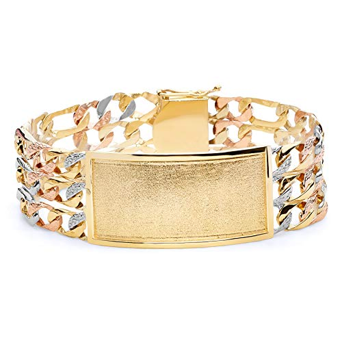 - Wellingsale 14k Tri 3 Color Gold Solid Polished Mens 3 Line Nugget Figaro Link ID Bracelet - 9