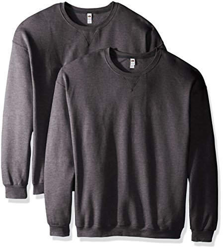 Fruit of the Loom Men's Crew Sweatshirt (2 Pack), Charcoal Heather, Large