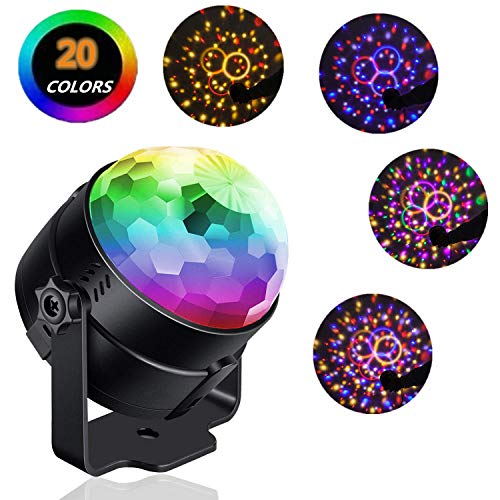 Reching Party Lights Sound Activated,Build in 20-Colors Crystal Magic Rotating Disco Light,Disco Ball Lamps,6W LED Stage Lighting for KTV,X'mas Party,Wedding Show,Club Pub DJ Lighting