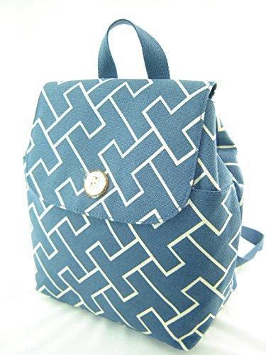 Tommy Hilfiger Mini Backpack Handbag Navy Blue Tan Multi