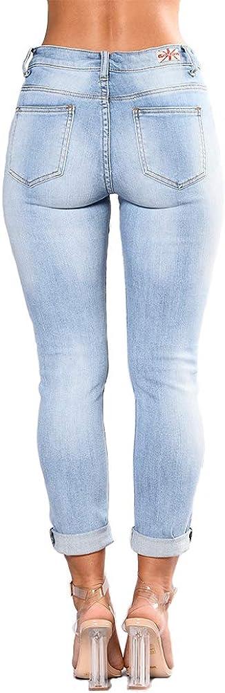 wyhweilong Pantaloni Slim Fit in Denim a Vita Alta con Motivo Floreale Ricamato Elasticizzato a Forma di Fiore