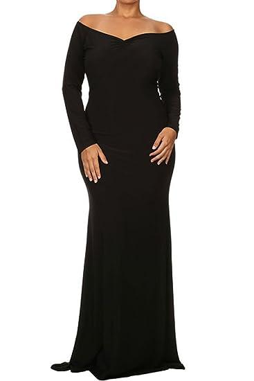 Neue Damen Plus Größe Schwarz Off Schulter Abendkleid besonderen ...