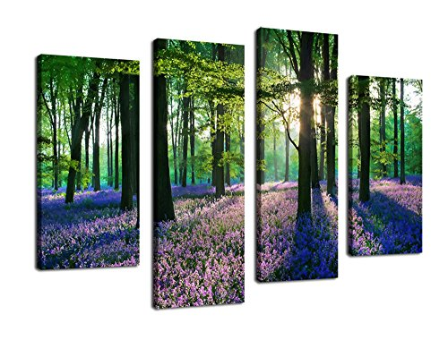 Sunshine Purple Lavender Forest Painting Pictures Canvas Prints