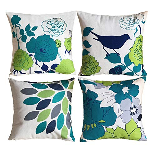sykting Couch Pillow Cases Decorative Cushion Covers Set of 4 Pillow Shams for Sofa/Bench 18x18 Birds & Flowers Series Cotton Linen