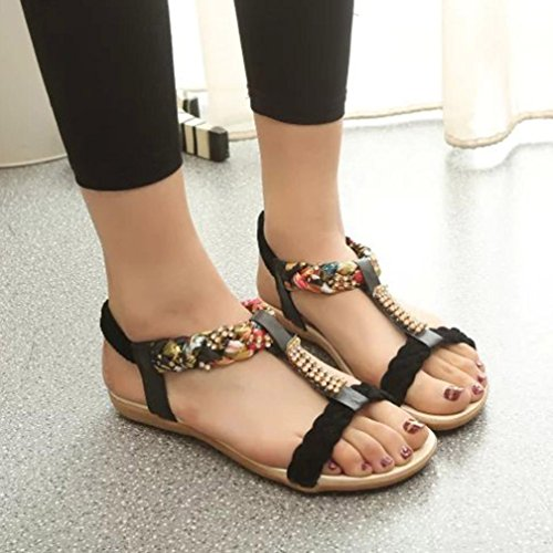 Binmer (tm) Vrouwen Elastische Band Schoenen Casual Comfort Sandalen Zwart