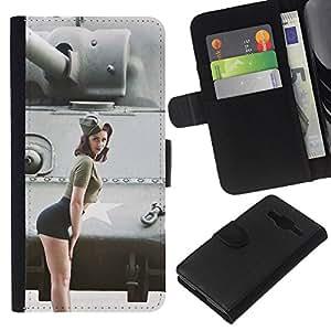 YiPhone /// Tirón de la caja Cartera de cuero con ranuras para tarjetas - Militares Pin Up Girl - Samsung Galaxy Core Prime