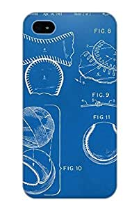 Guidepostee Iphone 4/4s Well-designed Hard Case Cover Baseball Construction Patent 2 Blueprint Protector For New Year's Gift