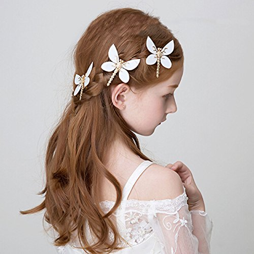 Price comparison product image Bridalvenus Hair Clips White Dragonfly Hair Pins Fashion Claw - Wedding Headpieces for Women and Girls on Party, Casual (Three Pieces in One Package)