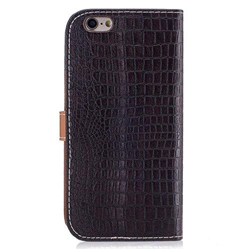 Trumpshop Smartphone Carcasa Funda Protección para Apple iPhone 6 / iPhone 6s (4.7 Pulgada) [Marrón Oscuro] Patrón de Piel de Cocodrilo PU Cuero Caja Protector Billetera Choque Absorción Marrón Oscuro