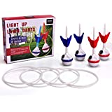 ROPODA LED Ring Toss-Lawn Darts Game-Glow in The Dark Game Set-Outdoor Family Game for Backyard, Lawn, Beach and More.