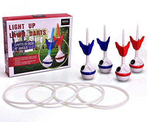 ROPODA LED Ring Toss-Lawn Darts Game-Glow in The Dark Game Set-Outdoor Family Game for Backyard, Lawn, Beach and More. ()