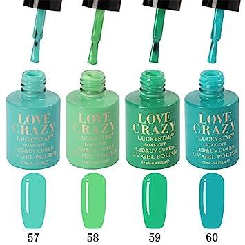 LoveCrazy 4pcs Kit De Colores 57-60 Esmaltes en Gel Manicura Francesa Uñas de Gel Esmalte Semipermanente Color Gel UV LED Manicura Arte LOVE CRAZY