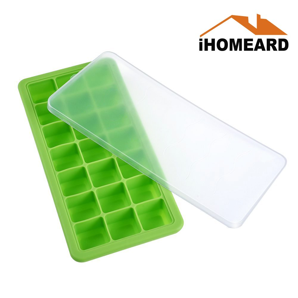 Silicone Ice Cube Trays with Lids, Ice Cube Storage, Ice Cube Maker Silicone Ice Cube Mold 21 Cubes Easy Release - Flexible Rubber Stackable Mini Cocktail Whiskey Containers