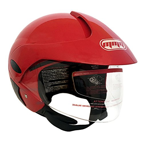 (Motorcycle Scooter Street Open Face Helmet DOT - Flip Up Shield - Glossy Red (Small))