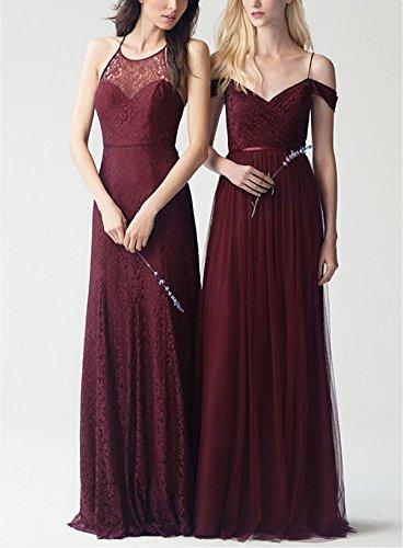 Beauté Femmes De Mariée Est Hors Robes De Demoiselle D'honneur De Tulle Épaule 2017 À Long L061 Gris