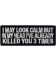Ik kan kijken Clam maar in mijn hoofd heb ik al vermoord je 3 keer patch geborduurde morale applicatie bevestiger haak & lus embleem