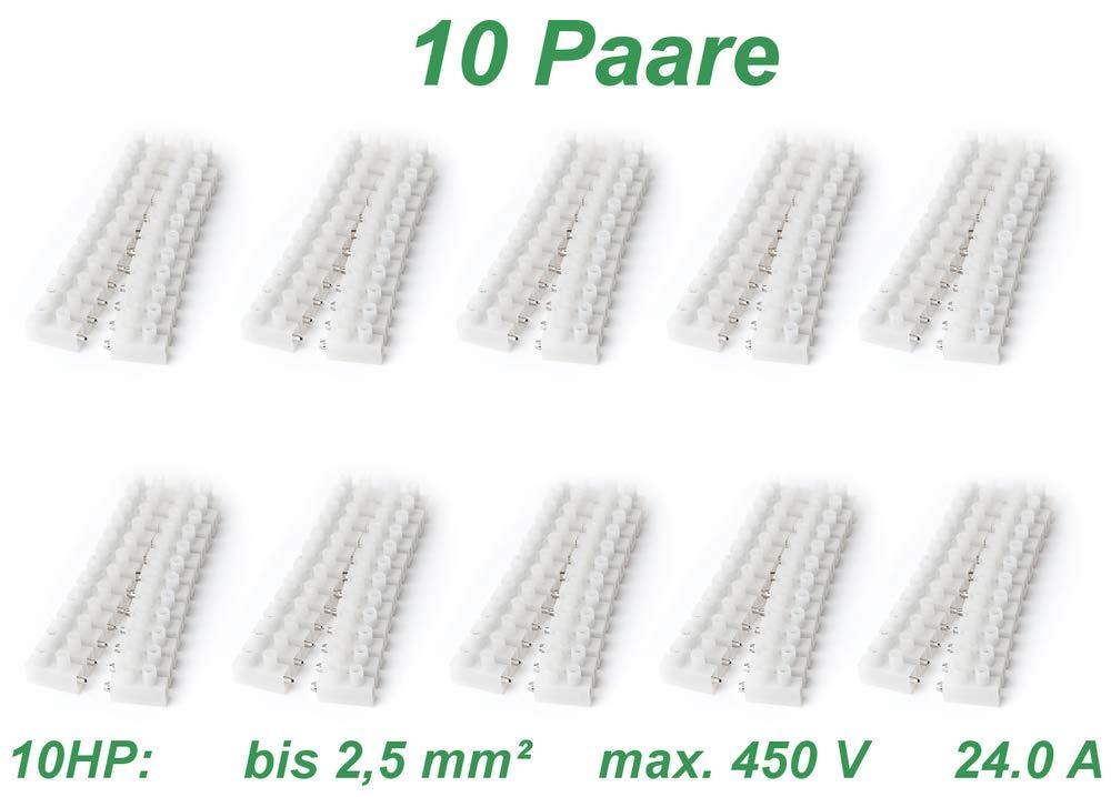 edi-tronic 1 Paar Lüsterklemmen steckbar bis 1, 5 mm² 12-polig 12 Fach Kabel Klemmen weiß