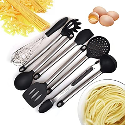 Kitchen Utensils set- 8 Piece Cooking Utensils - Nonstick Utensil Set - Silicone and Stainless Steel Kit - For Pots and Pans - Serving Tongs, Spoon, Spatula Tools, Pasta Server, Ladle, Strainer, Whisk by Hot Target