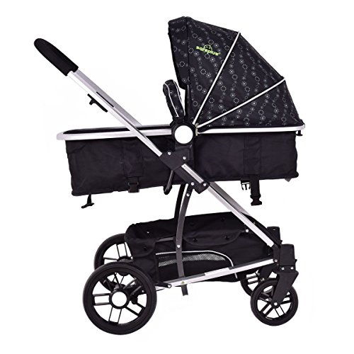 MD Group Baby Stroller 2-In-1 Foldable Aluminum Alloy Black Oxford Switchable Kids Travel by MD Group (Image #4)
