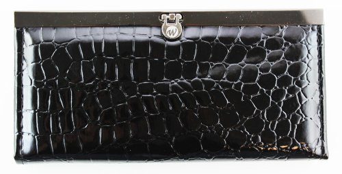 - Stylish Alligator Skin Purse - Slim & Convenient Woman's Wallet (Black)