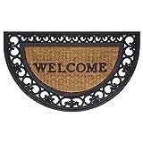 Achim Wrought Iron Rubber Fleur-de-Lis Slice Doormat