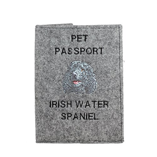 Irish Water Spaniel, Passport wallet with embroidered pattern of a -