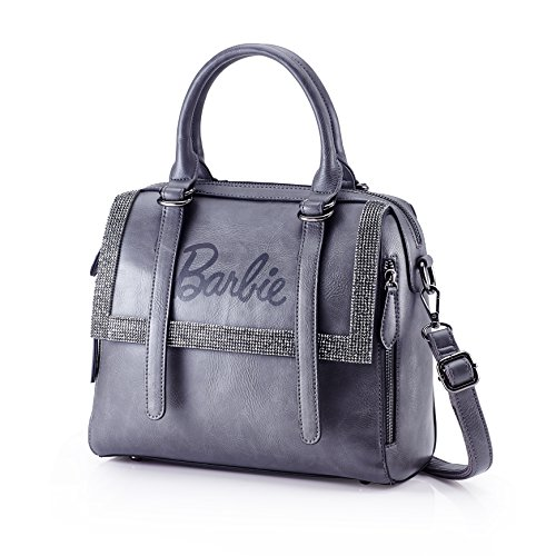 Barbie BBFB495 Bolso con remache de Piel brillante Bolso bandorela de Serie Elegante Bolsos baguettede mujer gris