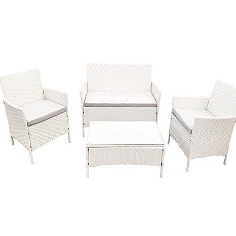 Arredo Giardino Rattan Bianco.Set Completo Sofa Sorrento White Smart Bianco In Poly Rattan Arredo