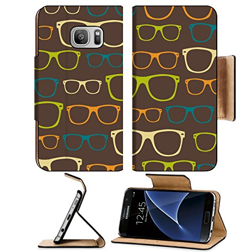 Luxlady Premium Samsung Galaxy S7 Flip Pu Leather Wallet Case IMAGE 31104846 Seamless pattern retro - Images Ray Bans