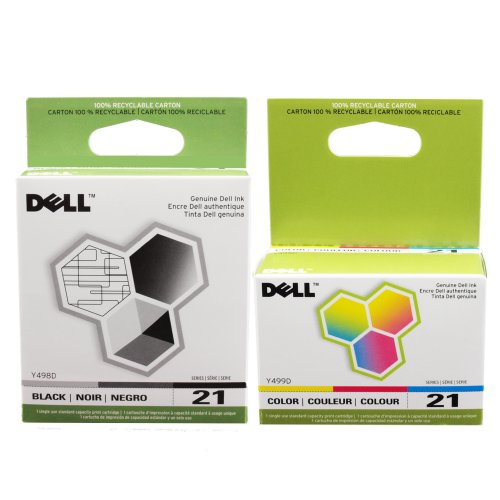 Dell Inkjet Printer Toner - Dell  21 Printer Series  Ink Cartridge for Dell All-In-One printers P513w P713w V313 V313w V515w V715w,  2-Pack, (Black and Color)