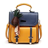 Women Handbag Backpack Crossbody Shoulder Bag for School & Daily Commute, PU Leather, Pineapple Pendant Included, Yellow